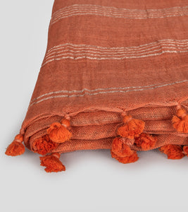 Orange Linen Zari Saree-Tassel