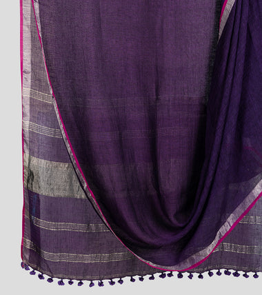 Purple Linen Zari Saree-Body