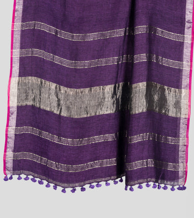 Load image into Gallery viewer, Purple Linen Zari Saree-Pallu