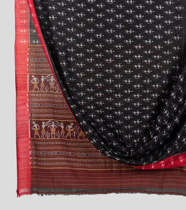 Black N Red Sambalpuri Cotton Saree-Body