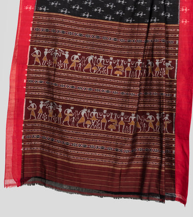 Load image into Gallery viewer, Black N Red Sambalpuri Cotton Saree-Pallu