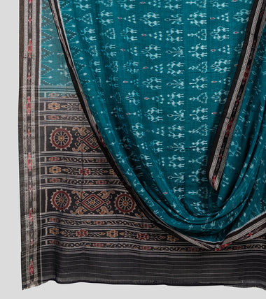 Green N Black Sambalpuri Cotton Saree-Body