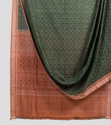 Green N Brown Sambalpuri Cotton Saree-Body