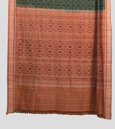 Load image into Gallery viewer, Green N Brown Sambalpuri Cotton Saree-Pallu