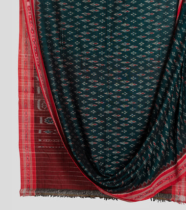 Green N Red Sambalpuri Cotton Saree-Body