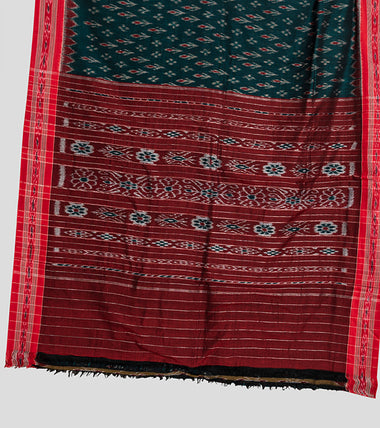 Load image into Gallery viewer, Green N Red Sambalpuri Cotton Saree-Pallu