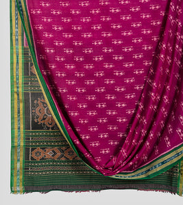 Magenta N Green Sambalpuri Cotton Saree-Body