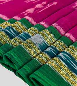 Magenta N Green Sambalpuri Cotton Saree-Border