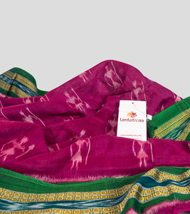 Magenta N Green Sambalpuri Cotton Saree-Detail