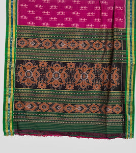 Magenta N Green Sambalpuri Cotton Saree-Pallu