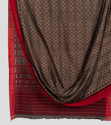 Olive Green N Red Sambalpuri Cotton Saree-Body