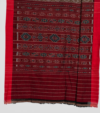 Load image into Gallery viewer, Olive Green N Red Sambalpuri Cotton Saree-Pallu