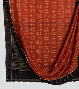 Orange N Black Sambalpuri Cotton Saree-Body