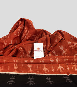 Orange N Black Sambalpuri Cotton Saree-Detail