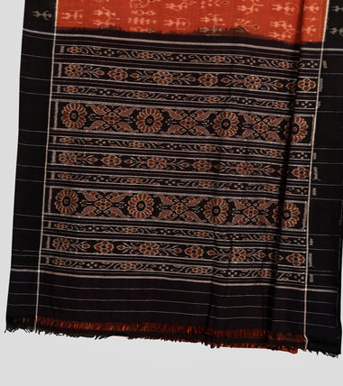 Load image into Gallery viewer, Orange N Black Sambalpuri Cotton Saree-Pallu