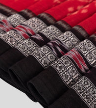 Load image into Gallery viewer, Red N Black Sambalpuri Cotton Saree-Border