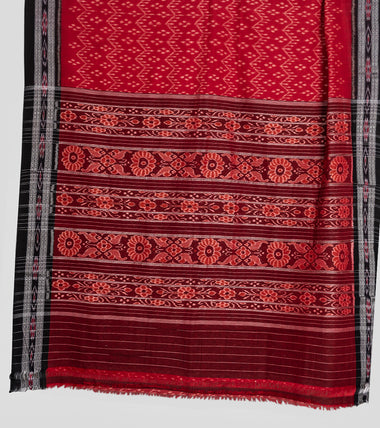 Load image into Gallery viewer, Red N Black Sambalpuri Cotton Saree-Pallu