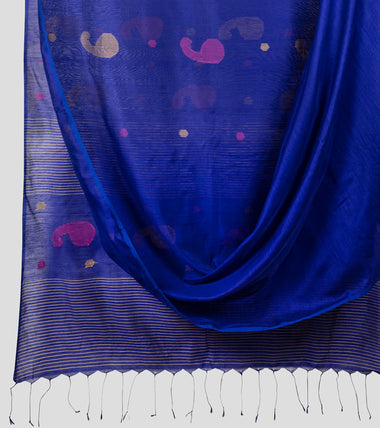 Purplish Blue Bengal Silk Cotton Jamdani Saree-Body