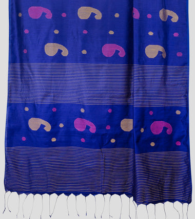Load image into Gallery viewer, Purplish Blue Bengal Silk Cotton Jamdani Saree-Pallu