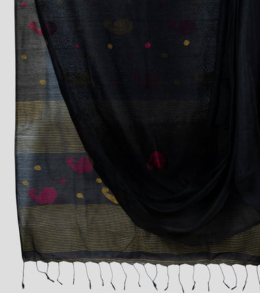Black Bengal Silk Cotton Jamdani Saree-Body