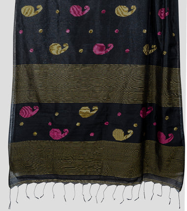 Load image into Gallery viewer, Black Bengal Silk Cotton Jamdani Saree-Pallu