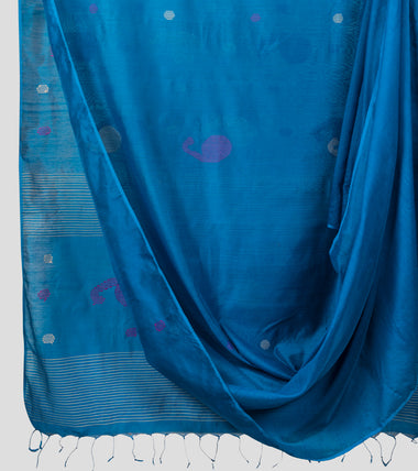 Blue Bengal Silk Cotton Jamdani Saree-Body