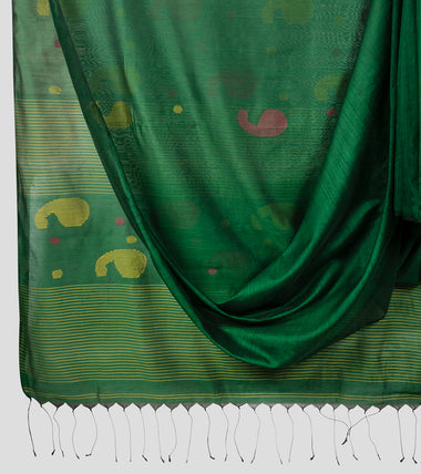 Green Bengal Silk Cotton Jamdani Saree-Body