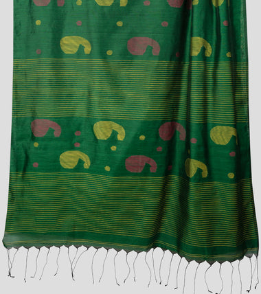 Load image into Gallery viewer, Green Bengal Silk Cotton Jamdani Saree-Pallu