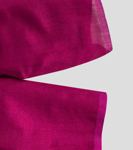 Magenta Bengal Silk Cotton Jamdani Saree-Blouse Piece