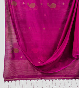 Magenta Bengal Silk Cotton Jamdani Saree-Body
