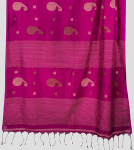 Magenta Bengal Silk Cotton Jamdani Saree-Pallu