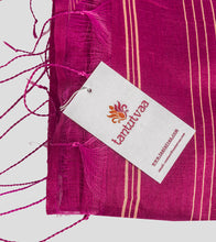 Load image into Gallery viewer, Magenta Bengal Silk Cotton Jamdani Saree-Tassel