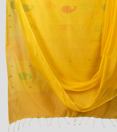 Yellow Bengal Silk Cotton Jamdani Saree-Body