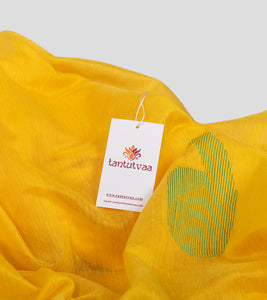Yellow Bengal Silk Cotton Jamdani Saree-Detail
