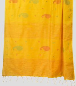 Yellow Bengal Silk Cotton Jamdani Saree-Pallu