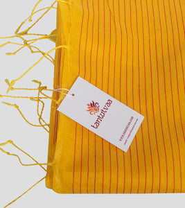 Yellow Bengal Silk Cotton Jamdani Saree-Tassel