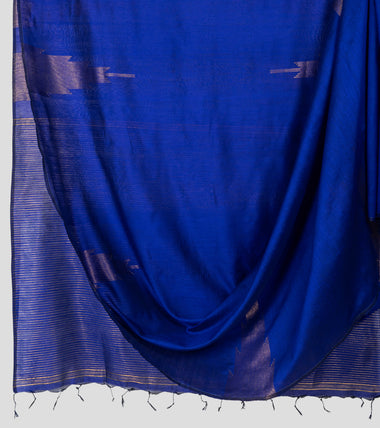 Purplish Blue Neemzari Silk Cotton Saree-Body
