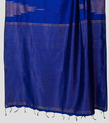 Load image into Gallery viewer, Purplish Blue Neemzari Silk Cotton Saree-Pallu