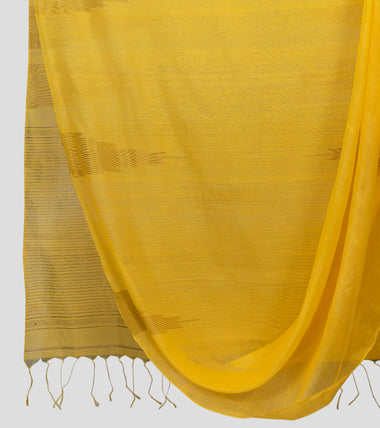 Yellow Neemzari Silk Cotton Saree-Body