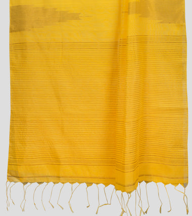 Load image into Gallery viewer, Yellow Neemzari Silk Cotton Saree-Pallu