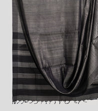 Load image into Gallery viewer, Grey Tussar Silk Saree-Body