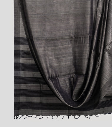 Grey Tussar Silk Saree-Body