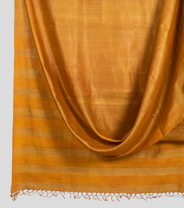 Mustard Yellow Tussar Silk Saree-Body