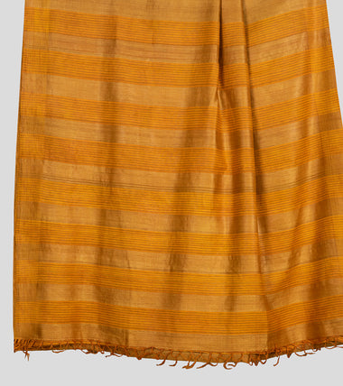 Load image into Gallery viewer, Mustard Yellow Tussar Silk Saree-Pallu