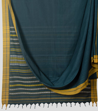 Teal Begumpuri Cotton Saree-Body