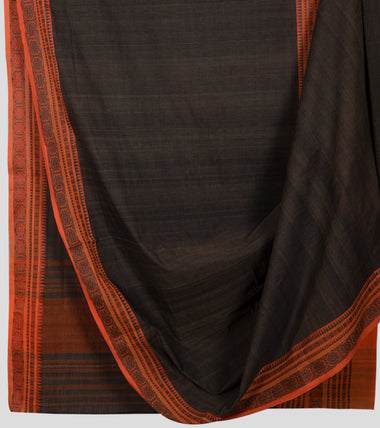 Wood Bark Brown Begumpuri Cotton Saree-Body