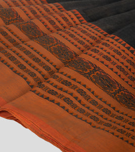 Wood Bark Brown Begumpuri Cotton Saree-Border