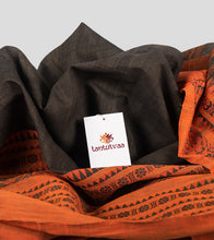 Load image into Gallery viewer, Wood Bark Brown Begumpuri Cotton Saree-Detail
