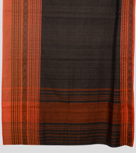 Wood Bark Brown Begumpuri Cotton Saree-Pallu