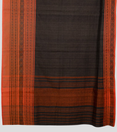 Load image into Gallery viewer, Wood Bark Brown Begumpuri Cotton Saree-Pallu